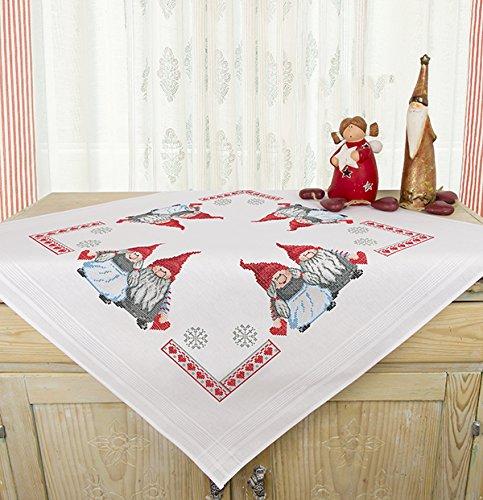 Kamaca Stickpackung VERLIEBTE WICHTEL Kreuzstich vorgezeichnet Stickdecke und Stickgarn aus 100% Baumwolle zum Selbersticken zu Winter Weihnachten (Mitteldecke 80x80 cm)