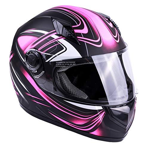 Typhoon Adult Full Face Motorcycle Helmet DOT - SAME DAY SHIPPING (Matte Pink, X-Small)