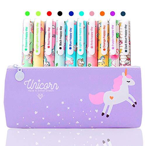 10 Lápices Bolígrafos de Unicornio con Estuche de Regalo Escolar para Niñas Edad 3 4 5 6 7 8 9 10 Años, TOYESS Bolígrafos Flamingo Lindos Set Regalo de Cumpleaños para Niños, Púrpura