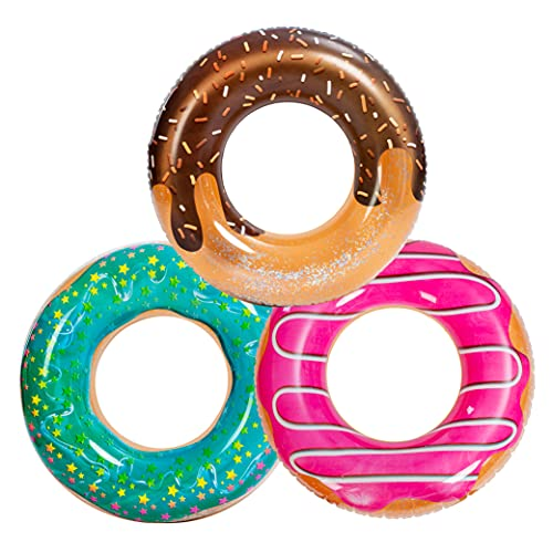 JOYIN Donut Flotador de piscina con purpurina de 82,5 cm (3 unidades), divertido tubo de piscina juguetes para fiestas de piscina y decoración de fiesta de donut