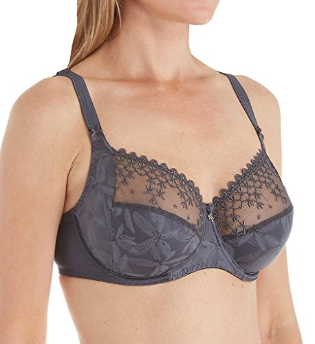 Empreinte Women's Eva Embroidered Microfiber Underwire Full Cup Bra 7179 32G Graphite