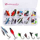 Sougayilang Lead Ice Fishing Lure Kit with Carbon Steel Hooks in Tackle Box Pack of 27PCS