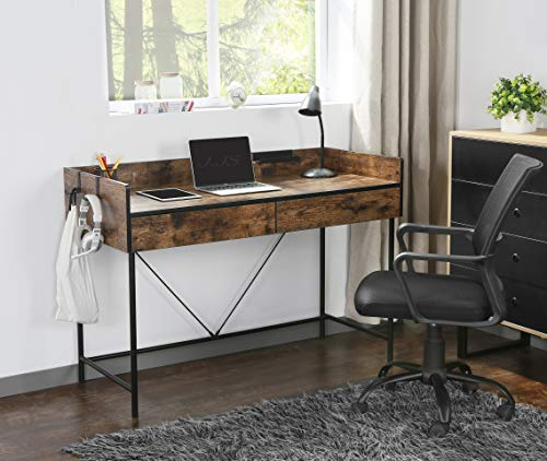 JJS 48' Home Office Computer Laptop Desk with Drawers, Modern Wooden Compact Study Writing Desk with Privacy Panel and Storage for Small Space, Rustic Brown