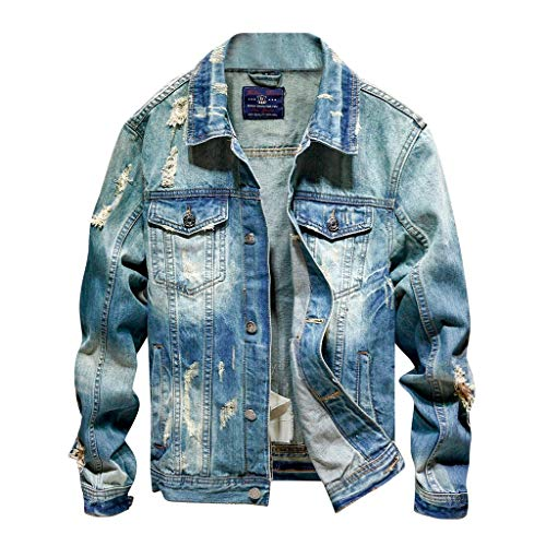 Herren Jeansjacke Herbst Winter Casual Loch Denim Verdickung Jacke Langarm Outdoorjacke übergangsjacken Kölner Karneval Weihnachten Herrenjacke CICIYONER