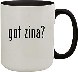 got zina? - 15oz Colored Inner & Handle Ceramic Coffee Mug, Black