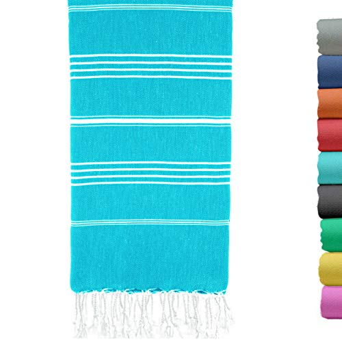 Turkish Beach Towel 37 x 70 Inches - 100% Cotton - Soft, and Quick-Dry - Oversized Turkish Towel for Beach, Bathroom, Travel, Gym, Aqua Turquoise