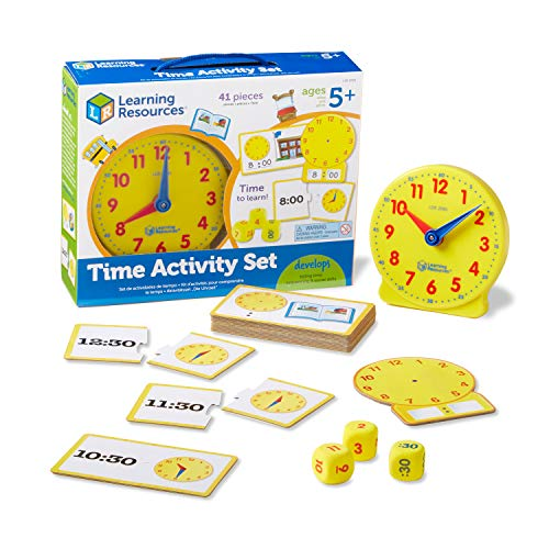 Learning Resources Time Activity Set  Homeschool  Back to School Activities  School Preparation Toys  Analog Clock  Tactile Learning  41 Pieces  Ages 5+