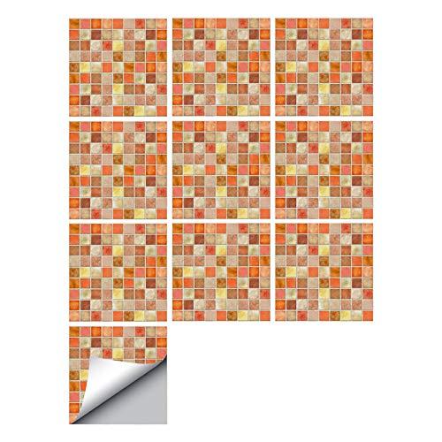 decalmile 10 Piezas Pegatinas de Azulejos 15x15cm Naranja Mosaico Adhesivo Decorativo para Azulejos Cocina Baño Decoración