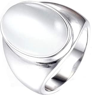 YandMe Jewelry Stainless Steel Men's Signet Oval Cat's Eye Gemstone Opal Rings Vintage Wedding,Silver