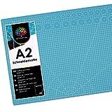 OfficeTree Tappetino Da Taglio - 60x45 cm (A2) blu - Cutting Mat - Reticolo e marcature su entrambi i lati per tagli professionali - PVC a 3 strati riciclabile - Non rimangono segni sulla superficie