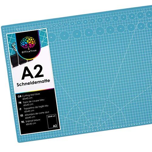 OfficeTree Schneidematte A2 selbstheilend - Blau - 60x45 cm - Cutting Mat mit beidseitigen Rastern und Markierungen für professionelle Schnitte - PVC 3-lagig recycelbar (Blau)