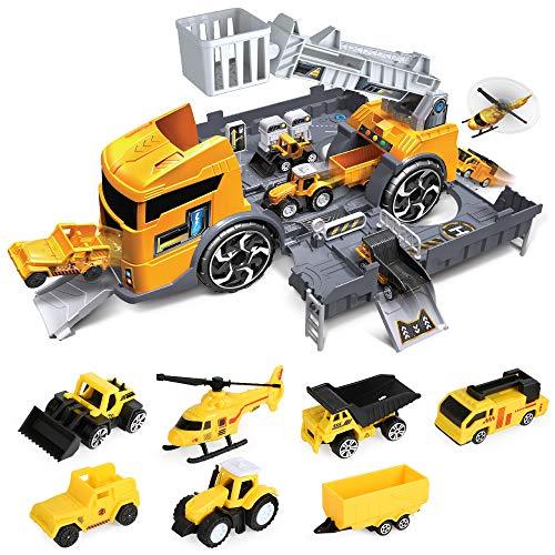 1.Conjunto de juguetes con 7 camiones de construcción en diferentes diseños y funciones en un camión de transporte. Incluyendo helicóptero, cargador, camión volquete, excavadora, camión de escalera y así sucesivamente. 2. Estacionamiento simulado: el...