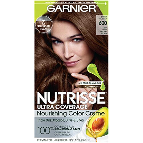 Garnier Nutrisse Ultra Coverage Hair Color, Deep Light Natural Brown (Spiced Hazelnut) 600 (Packaging May Vary), Pack of 1
