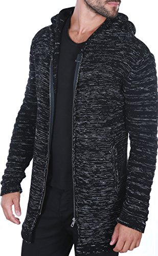 Karl\'s People People Herren Strickjacke mit Kapuze K-115 M Black