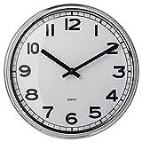 FGDF Reloj de Pared de Acero Inoxidable, Reloj silencioso para Sala de Estar, Adecuado para decoración de Estudio/Oficina