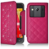 Seluxion-Funda tipo cartera universal S, diseño de diamantes, color rosa con diseño de flores para Samsung Galaxy Ace 4.