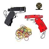TIETHEKNOT 2 pistole a nastro in gomma, giocattolo Easy Load, pieghevole, a mano, mini pistola in gomma metallica con portachiavi e 200 elastici elastici