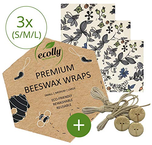 ecolly Premium Bijenwas Wraps I Bijenwas Wipes I Bijenwas Papier I Herbruikbaar I Set van 3 (S, M, L)