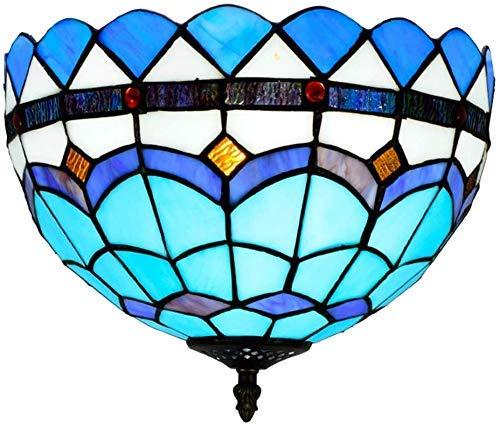 Wtbew-u Lámpara de Techo, luz de baño 12 Pulgadas Azul Europeo mediterráneo Manchado de vidrieras iluminación Colgante para Comedor Dormitorio