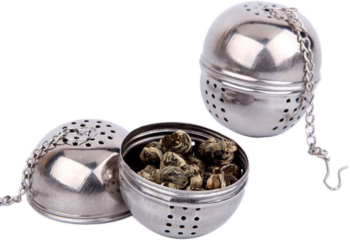 DEJUHUI US Stainless Steel Small Ball Tea Spice Filter Loose Leaf Strainer 2 Pack Sliver