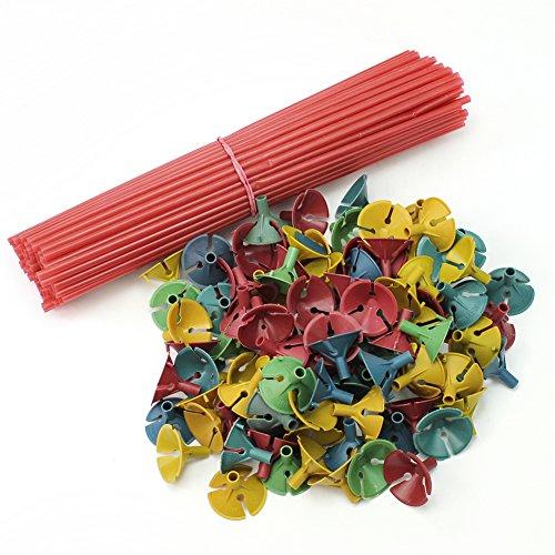 Pinzhi 100 x Tige à Ballon Sticks Support Matraque Bâtons en Plastique Décoration Fête