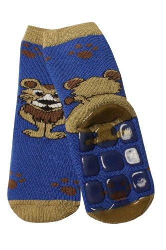 Weri Spezials Baby Voll-ABS Socke in m.Blau Gr.19-22 (12-24 Monate) Ein lustiger Loewe - ganz rutschfest!