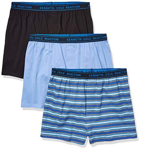 Kenneth Cole REACTION Men's Knit Boxer Underwear, Multipack, Black, Light Blue, Stripe - 3 Pack, Large