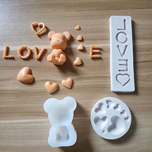 Aosong 3 stycken silikonchoklad godisformar, hjärtformade björnar universalform, kak-chokladform, sockerglaserad kakform, för dekoration, godis, bakning