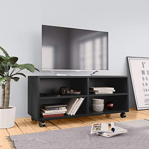 HUANGDANSP Mueble para TV con Ruedas aglomerado Negro 90x35x35 cm Mobiliario Muebles TV