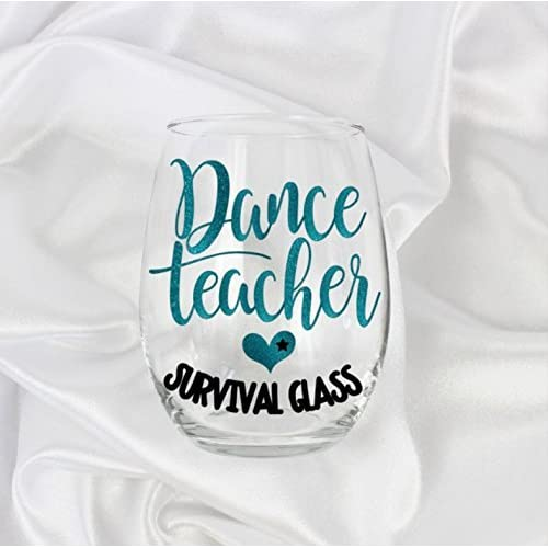 d15b83d1 funny dance teacher gifts stemless wine glass Glitter design for her #65