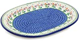 Polish Pottery 14¼-inch Platter (Spring Flowers Theme) + Certificate of Authenticity