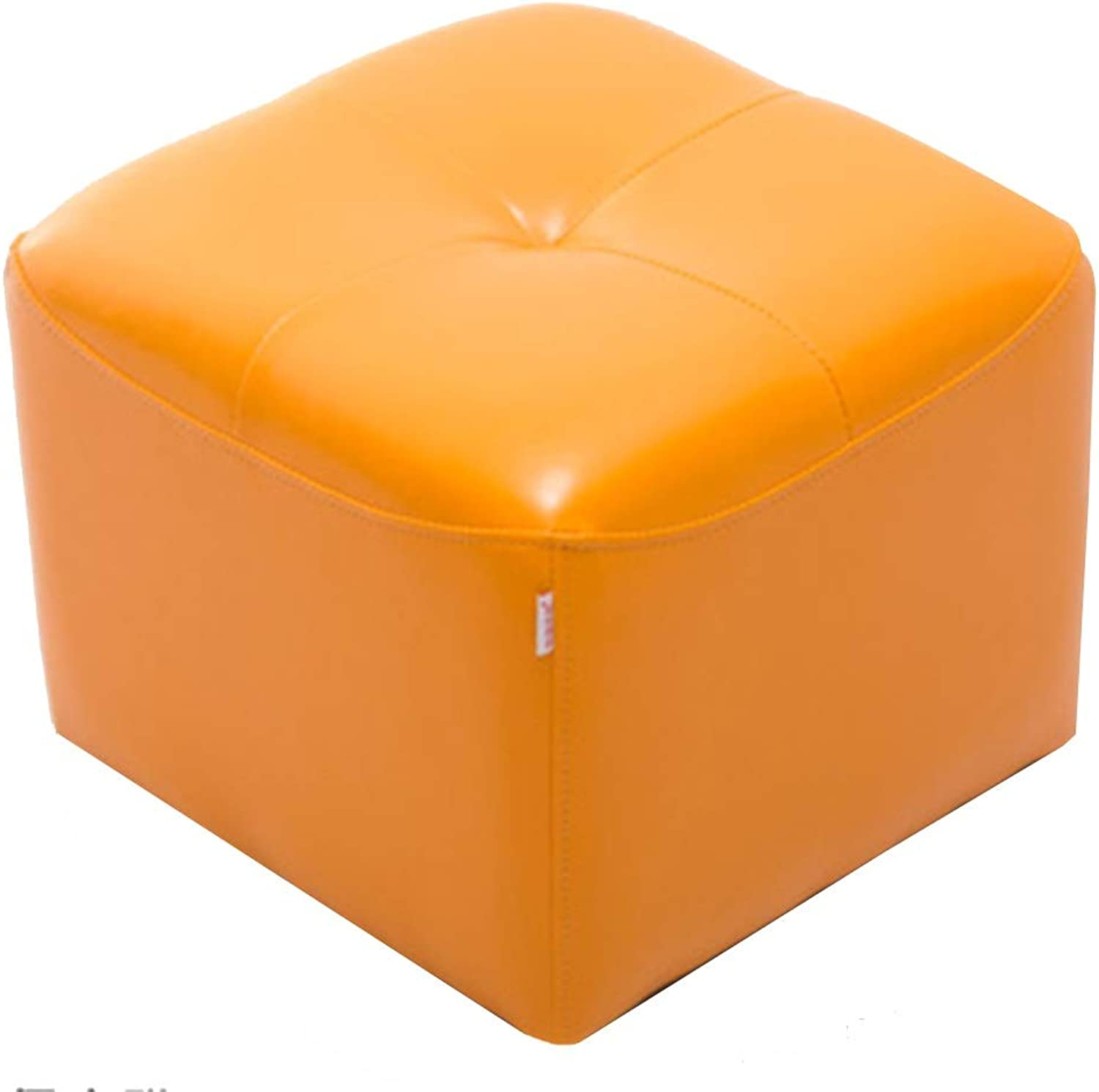 LSXIAO Sofa Stool Square Structure Stable PU Comfortable Clothing Store Change shoes Stylish Simplicity, 7 colors (color   orange, Size   42x42x34cm)
