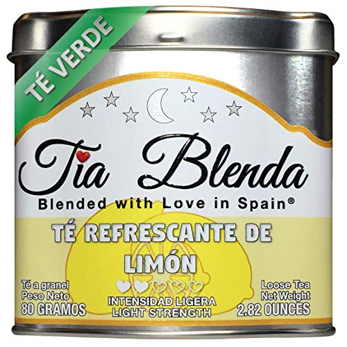 TIA BLENDA – TÉ REFRESCANTE DE LIMÓN (80 g) - Delicado TÉ VERDE Sencha Japonés con LIMÓN. Té en hojas. 45 - 55 tazas. Presentación premium en lata. Loose Tea Caddy