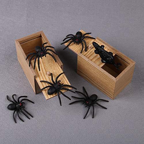 ZHAOZX Halloween Holz Streichspinne Panik-Box Holz Tricks Witz Lustige Familie Kinder Spielzeug Box Lustig Witz Spider Beißspielzeug Geschenk