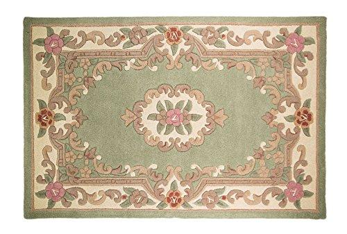 Chinesischer Teppich, Wolle in grün handgefertigt Traditionelles Aubusson-Design 120x 180cm oder 4
