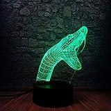 Solo 1 pieza Animal Cruel Snake Head 3D LED USB Night Light 7 Lámpara que cambia de color Ambiente creativo Iluminación Dormitorio Decoración Cool Guys Gift