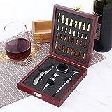 HGGDKDG Juego de herramientas de corcho de madera para abrebotellas de vino, para visita al hogar, juego de vertedor, caja de regalo, cortador de papel de hojalata con ajedrez vintage