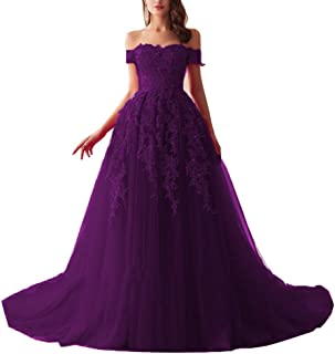 MariRobe Women's Lace Applique Off The Shoulder Prom Dresses Beaded Formal Party Gowns