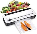 Bonsenkitchen Vacuum Sealer with Built-in Cutter & Roll Bag Storage, Lightweight Food Saver
