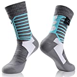 Waterproof Breathable Socks, RANDY SUN Men Women Crew Sock Great For Work Boots, Camping, Travel Black&Navy Blue Size M