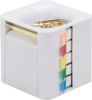All-in-One Pop-up Note & Roll Sticky Note Dispenser Assorted Index Flag Dispenser Paper Clip Tub Desk Organizer (Light Grey)