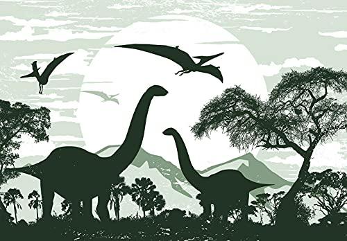 Fototapete Dinosaurier Kinderzimmer Jungs Dino Wandtapete Vlies Tapete Latexdruck UV-Beständig Geruchsfrei Hohe Auflösung Montagefertig (13732, V8 (368x254 cm) 4 Bahnen)