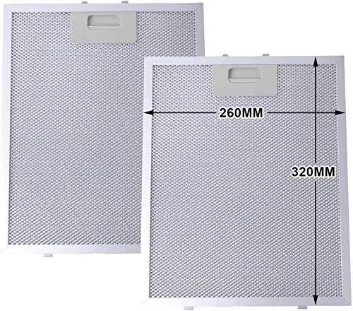 Filtro de Grasa para Campana Extractora cocina Cooke & Lewis de Cocina por Poweka (Plata, 320 x 260 mm, 2 Piezas)