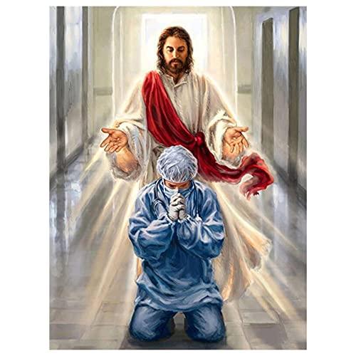 Puzzle 1000 piezas Imágenes de doctor praying jesus angel puzzle 1000 piezas animales educativo divertido juego familiar para niños adultos Rompecabezas educativo de juguete p50x75cm(20x30inch)