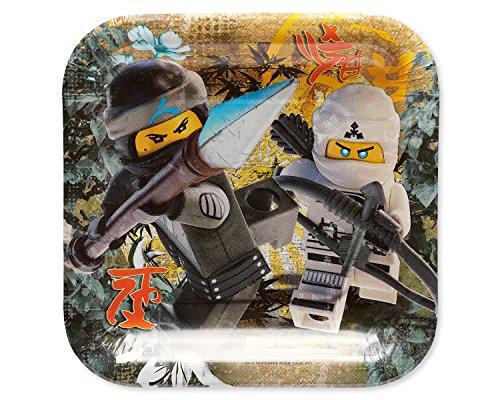amscan 541716 Lego Ninjago 18 cm Assiette carrée