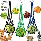 3 Stück Hähnchen Gemüsehalter Hängendes Tasche mit Haken für Hühnerente Gans Große Gänse Vögel Coop Käfig, Snackhalter Behandlung Fütterungswerkzeug Spielzeug