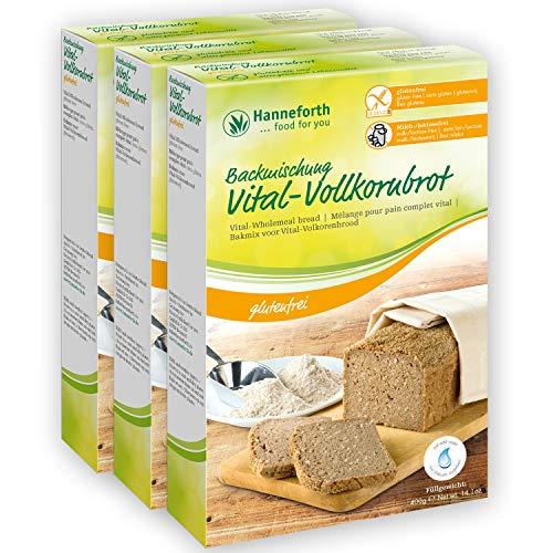 Glutenfreie Backmischung Vital-Vollkornbrot | 3*400g | Hanneforth