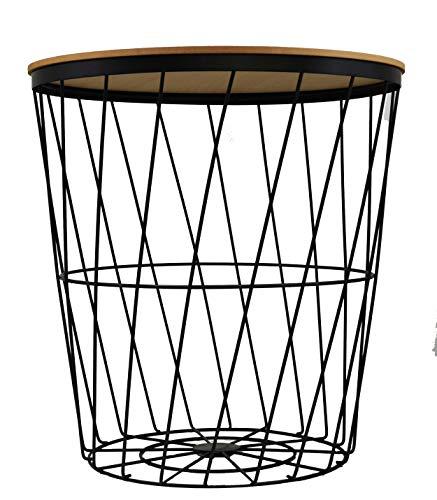Riyashop XL 40 cm Design Stahl Feuer-Korb Metallkorb waschekorb WÄSCHESAMMLER WÄSCHEBOX Tisch mit Deckel Beistelltisch und Drahtkorb in einem