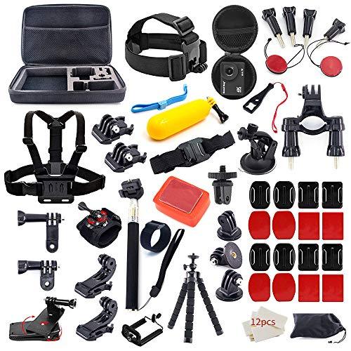 MOUNTDOG 61 in 1 Action Camera Accessories Kit for GoPro Hero 8 7 6 5 4 3+ 3 AKASO Apeman SJ4000 Campark DJI OSMO (Round)