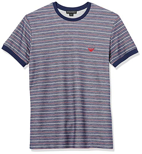 Emporio Armani Herren Striped Terry Short Sleeve Crewneck T-Shirt Pyjama-Oberteil (Top), Blau/Rot/Creme Linie, Groß
